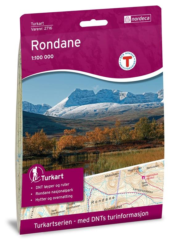 UG-2716  Rondane kaart 1:100.000 7046660027165  Nordeca / Ugland Turkart Norge 1:100.000  Wandelkaarten Noorwegen boven de Sognefjord