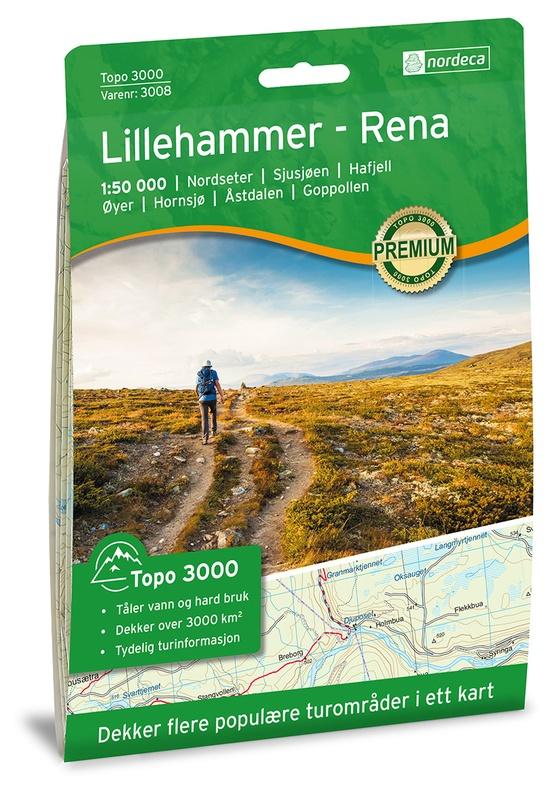 UG-3008  Lillehammer - Rena | topografische wandelkaart 1:50.000 7046660030080  Nordeca / Ugland Topo 3000  Wandelkaarten Zuid-Noorwegen