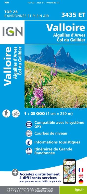 3435ET Valloire, Col du Galibier | wandelkaart 1:25.000 9782758543268  IGN TOP 25  Wandelkaarten Franse Alpen: noord