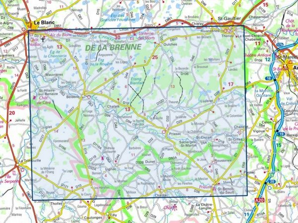 wandelkaart 2027-SB Bélâbre, Saint-Benoît-du-Sault 1:25.000 9782758544951  IGN IGN 25 Charente, Vendée  Wandelkaarten Vendée, Charente