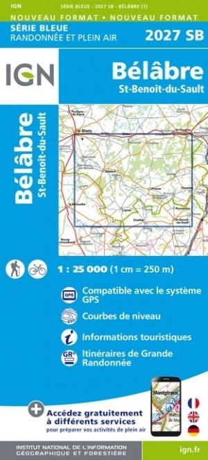 SB-2027SB Bélâbre, Saint-Benoît-du-Sault | wandelkaart 1:25.000 9782758544951  IGN Serie Bleue (vernieuwd)  Wandelkaarten Vendée, Charente