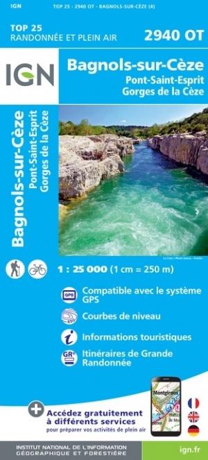 2940OT  Lussan, Bagnols-sur-Cèze | wandelkaart 1:25.000 9782758546610  IGN TOP 25  Wandelkaarten Cevennen, Languedoc