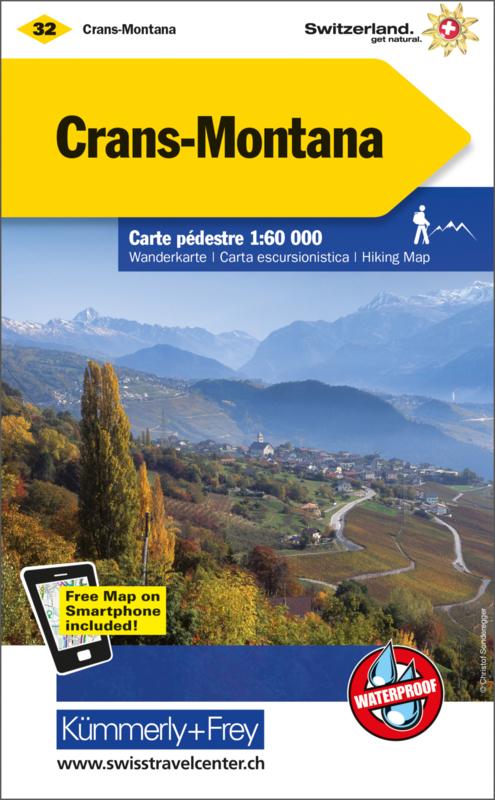 KFW-32 Crans-Montana | wandelkaart / overzichtskaart 9783259022320  Kümmerly & Frey Wandelkaarten Zwitserland  Wandelkaarten Wallis