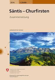 CH-2514  Säntis - Churfristen [2017] topografische wandelkaart 9783302025148  Bundesamt / Swisstopo LKS 1:25.000 Zusammensetzung  Wandelkaarten Noordoost- en Centraal Zwitserland