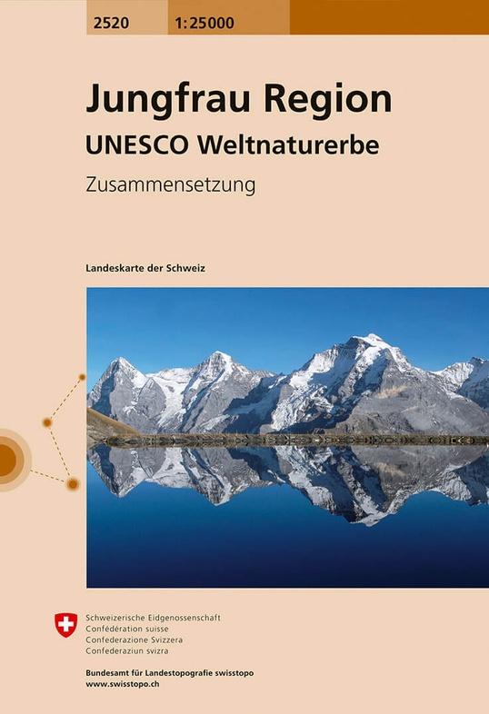 CH-2520  Jungfrau Region [2016] topografische wandelkaart 9783302025209  Bundesamt / Swisstopo LKS 1:25.000 Zusammensetzung  Wandelkaarten Berner Oberland, Basel, Jura, Genève