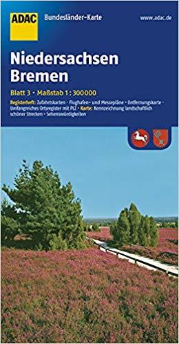Niedersachsen, Bremen 1:300.000 9783826423154  ADAC Bundesländerkarten  Landkaarten en wegenkaarten Noordwest-Duitsland (met Harz)