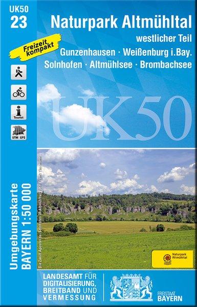 UK50-23  Naturpark Altmühltal, Westlicher Teil 9783899337136  LVA Bayern UmgebungsKarte 1:50.000  Wandelkaarten Franken, Nürnberg, Altmühltal