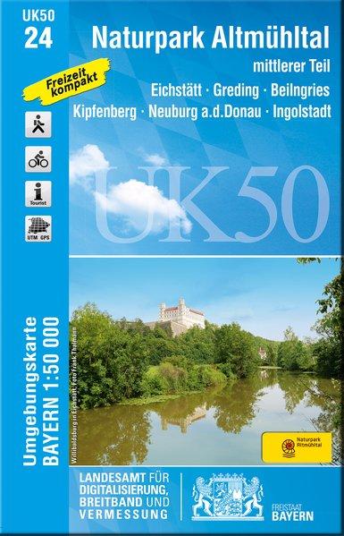 UK50-24  Naturpark Altmühltal, Mittlerer Teil 9783899337143  LVA Bayern UmgebungsKarte 1:50.000  Wandelkaarten Franken, Nürnberg, Altmühltal