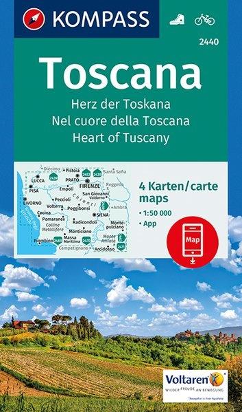 KP-2440 Toscane 4-Set 1:50.000 | Kompass wandelkaart 9783990442647  Kompass Wandelkaarten Kompass Italië  Wandelkaarten Toscane, Florence