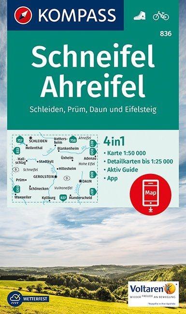 KP-836 Schneifel-Ahreifel | Kompass 9783990443385  Kompass Wandelkaarten Kompass Duitsland  Wandelkaarten Eifel