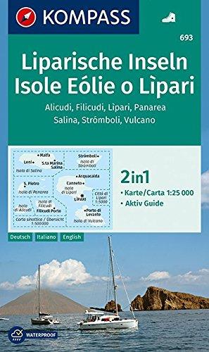 KP-693 Isole Eolie o Lipari | Kompass wandelkaart 9783990443767  Kompass Wandelkaarten Kompass Italië  Wandelkaarten Sicilië