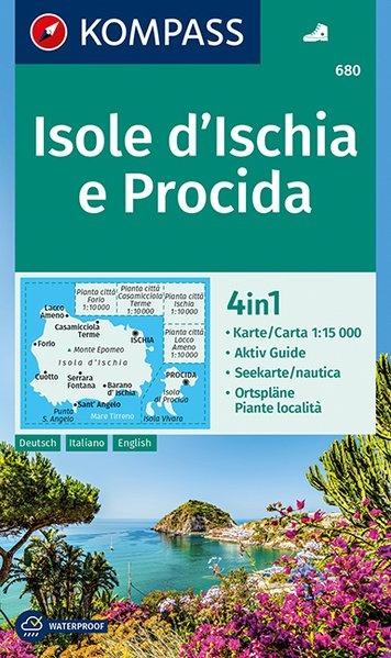 KP-680 Isola d'Ischia e Procida 1:15.000 | Kompass wandelkaart 9783990443781  Kompass Wandelkaarten Kompass Italië  Wandelkaarten Napels, Amalfi, Campanië