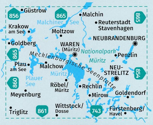 KP-855  Rund um die Müritz | set v 2 kaarten 1:50.000 | Kompass 9783990444221  Kompass Wandelkaarten Kompass Duitsland  Wandelkaarten Mecklenburg-Vorpommern