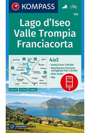 KP-106  Lago d Iseo/Franciacorta | Kompass wandelkaart 9783990444320  Kompass Wandelkaarten Kompass Italië  Wandelkaarten Zuid-Tirol, Dolomieten