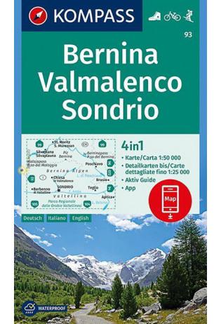 KP-93  Bernina, Sondrio 1:50.000 | Kompass wandelkaart 9783990444368  Kompass Wandelkaarten Kompass Italië  Wandelkaarten Milaan, Lombardije, Italiaanse Meren