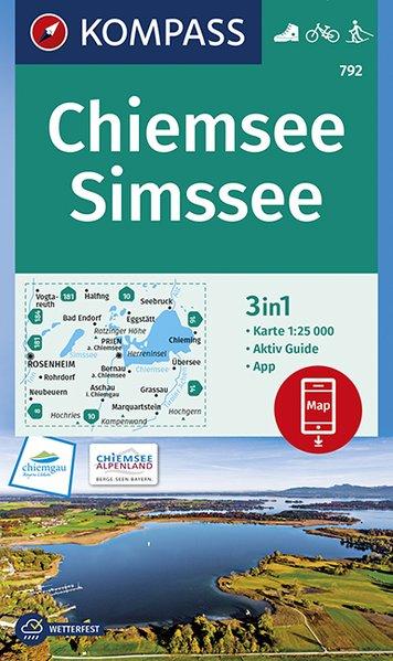 KP-792 Chiemsee / Simssee   Kompass wandelkaart 9783990445945  Kompass Wandelkaarten Kompass Duitsland  Wandelkaarten Beierse Alpen
