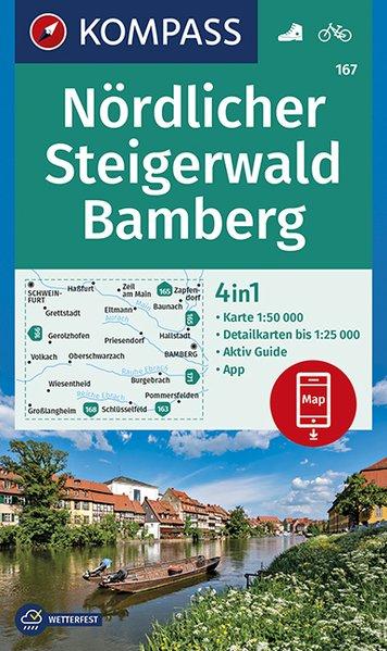 KP-167 Nördlicher Steigerwald | Kompass wandelkaart 9783990446027  Kompass Wandelkaarten Kompass Duitsland  Wandelkaarten Franken, Nürnberg, Altmühltal