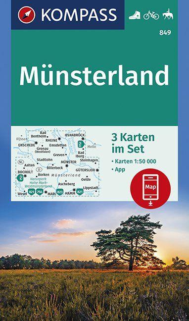 KP-849 Münsterland (kaartenset, 1:50.000) | Kompass 9783990446072  Kompass Wandelkaarten Kompass Duitsland  Wandelkaarten Münsterland, Bentheim