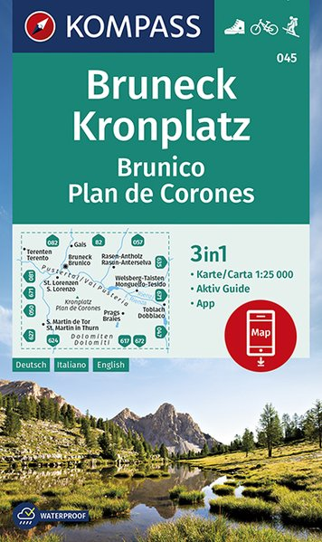 KP-045 Bruneck / Brunico | Kompass wandelkaart 9783990446188  Kompass Wandelkaarten Kompass Italië  Wandelkaarten Zuid-Tirol, Dolomieten
