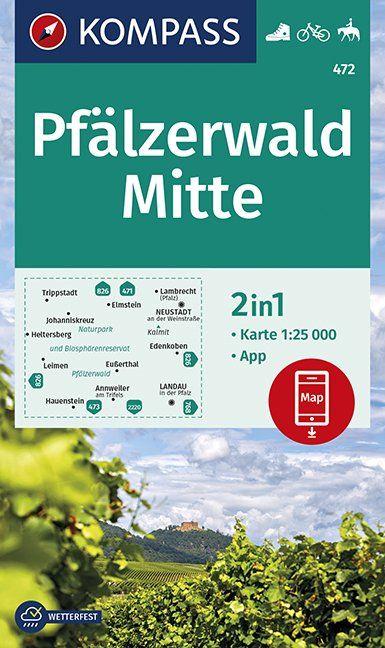 KP-472  Pfälzerwald Mitte 1:25.000 9783990446904  Kompass Wandelkaarten Kompass Duitsland  Wandelkaarten, Wijnreisgidsen Pfalz, Deutsche Weinstrasse, Rheinhessen