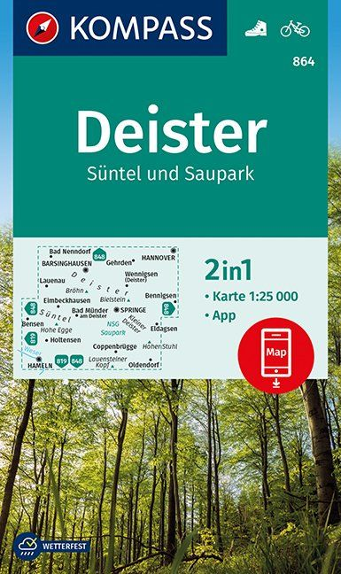 KP-864  Deister 1:25.000 9783990446928  Kompass Wandelkaarten Kompass Duitsland  Wandelkaarten Lüneburger Heide, Hannover, Weserbergland