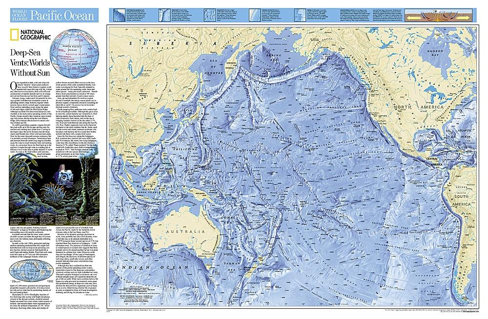 Pacific Ocean - flat map 9780792249528  National Geographic NG planokaarten  Wandkaarten Pacifische Oceaan (Pacific)