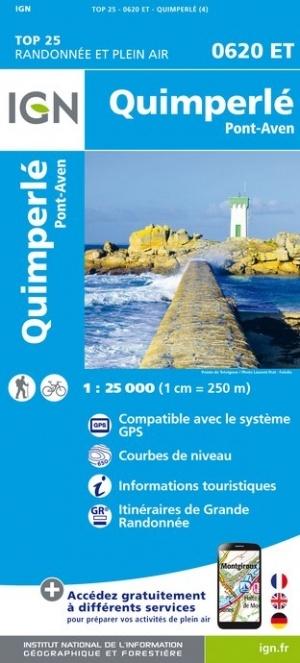 0620ET   Quimperlé, Pont-Aven, Tregunc | wandelkaart 1:25.000 9782758542568  IGN IGN 25 Bretagne  Wandelkaarten Bretagne