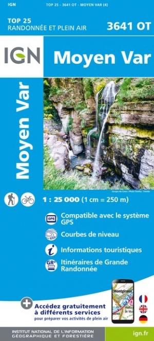 3641OT   Moyen Var | wandelkaart 1:25.000 9782758542865  IGN IGN 25 Franse Alpen/ zuidhelft  Wandelkaarten Franse Alpen: zuid