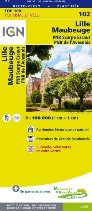 SV-102 Lille, Maubeuge | omgevingskaart / fietskaart 1:100.000 9782758543558  IGN Série Verte 1:100.000  Fietskaarten, Landkaarten en wegenkaarten Champagne, Franse Ardennen, Picardie, Nord