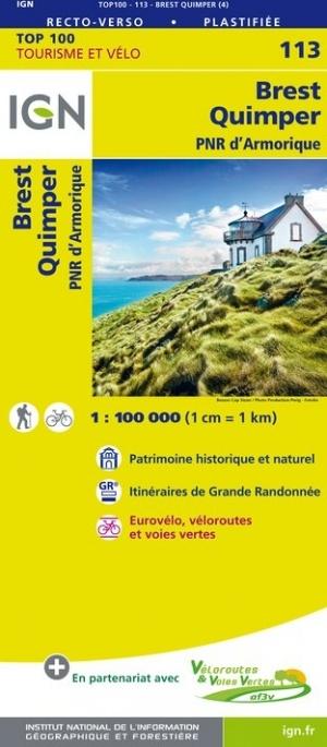 SV-113  Brest/Quimper | omgevingskaart / fietskaart 1:100.000 9782758543626  IGN Série Verte 1:100.000  Fietskaarten, Landkaarten en wegenkaarten Bretagne
