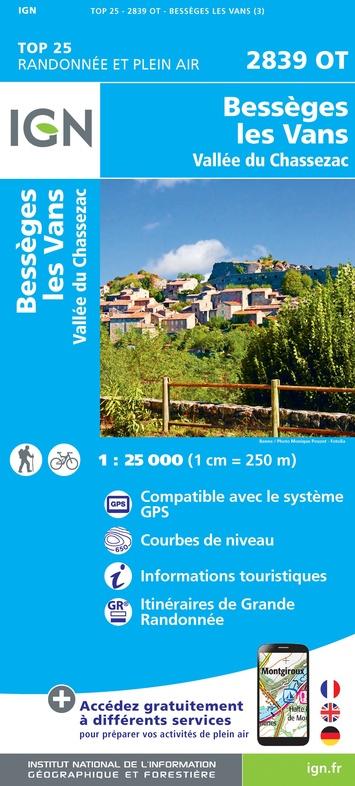 2839OT Les-Vans, Bessèges 2839 OT | wandelkaart 1:25.000 9782758545460  IGN TOP 25  Wandelkaarten Ardèche, Drôme, Cevennen, Languedoc
