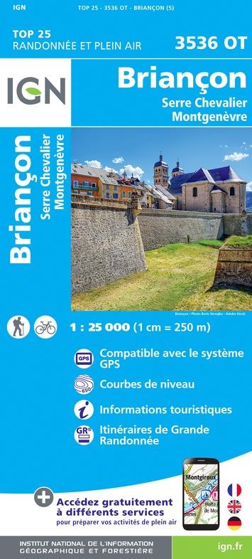 3536OT  Briançon, Montgenèvre | wandelkaart 1:25.000 9782758546733  IGN IGN 25 Franse Alpen/ zuidhelft  Wandelkaarten Franse Alpen: zuid
