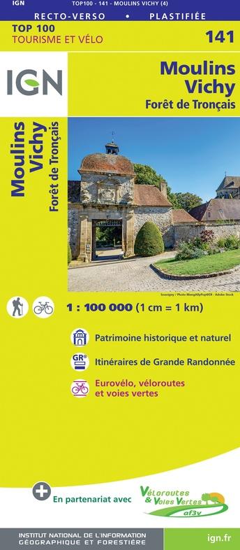 SV-141  Moulins, Vichy | omgevingskaart / fietskaart 1:100.000 9782758547617  IGN Série Verte 1:100.000  Fietskaarten, Landkaarten en wegenkaarten Auvergne