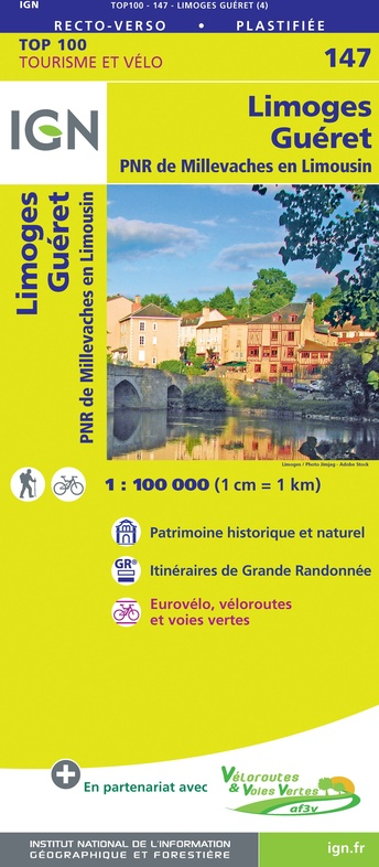 SV-147  Limoges, Guéret | omgevingskaart / fietskaart 1:100.000 9782758547631  IGN Série Verte 1:100.000  Fietskaarten, Landkaarten en wegenkaarten Creuse, Corrèze