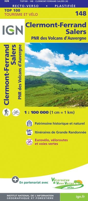 SV-148  Clermont-Ferrand, Mauriac | omgevingskaart / fietskaart 1:100.000 9782758547648  IGN Série Verte 1:100.000  Fietskaarten, Landkaarten en wegenkaarten Auvergne