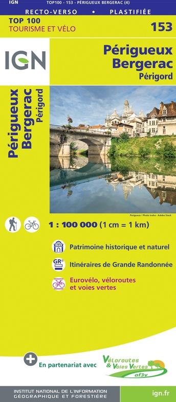 SV-153  Périgueux, Bergerac | omgevingskaart / fietskaart 1:100.000 9782758547679  IGN Série Verte 1:100.000  Fietskaarten, Landkaarten en wegenkaarten Dordogne
