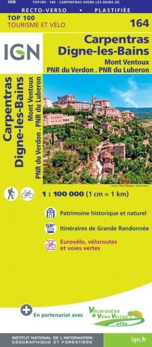 SV-164  Carpentras, Digne-les-Bains | omgevingskaart / fietskaart 1:100.000 9782758547730  IGN Série Verte 1:100.000  Fietskaarten, Landkaarten en wegenkaarten Provence, Marseille, Camargue