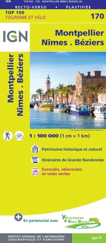 SV-170  Nîmes, Montpellier | omgevingskaart / fietskaart 1:100.000 9782758547785  IGN Série Verte 1:100.000  Fietskaarten, Landkaarten en wegenkaarten Cevennen, Languedoc