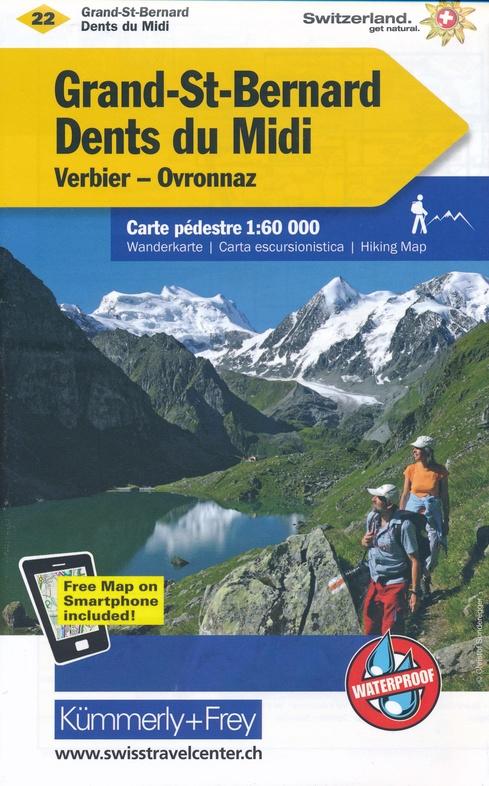 KFW-22 Grand-St.Bernard/ Dents du Midi | wandelkaart / overzichtskaart 9783259022221  Kümmerly & Frey Wandelkaarten Zwitserland  Wandelkaarten Wallis