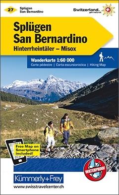 KFW-27  Splügen San Bernardino | wandelkaart / overzichtskaart 9783259022276  Kümmerly & Frey Wandelkaarten Zwitserland  Wandelkaarten Graubünden, Tessin
