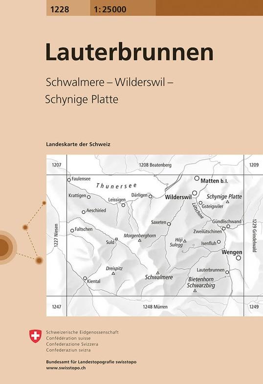 CH-1228  Lauterbrunnen [2015] topografische wandelkaart 9783302012285  Bundesamt / Swisstopo LKS 1:25.000  Wandelkaarten Berner Oberland, Basel, Jura, Genève