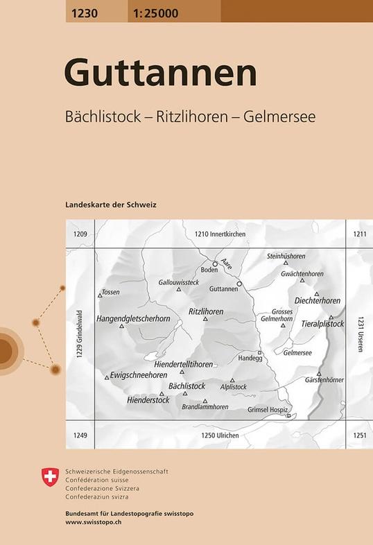 CH-1230  Guttannen [2019] topografische wandelkaart 9783302012308  Bundesamt / Swisstopo LKS 1:25.000 Berner Oberland  Wandelkaarten Berner Oberland