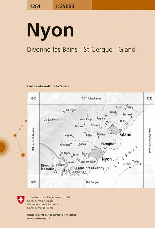 CH-1261  Nyon [2017] topografische wandelkaart 9783302012612  Bundesamt / Swisstopo LKS 1:25.000  Wandelkaarten Berner Oberland, Basel, Jura, Genève