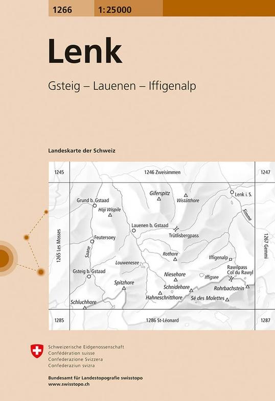 CH-1266  Lenk [2018] topografische wandelkaart 9783302012667  Bundesamt / Swisstopo LKS 1:25.000  Wandelkaarten Berner Oberland, Basel, Jura, Genève