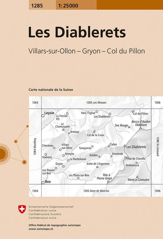 CH-1285  Les Diablerets [2018] topografische wandelkaart 9783302012858  Bundesamt / Swisstopo LKS 1:25.000  Wandelkaarten Wallis