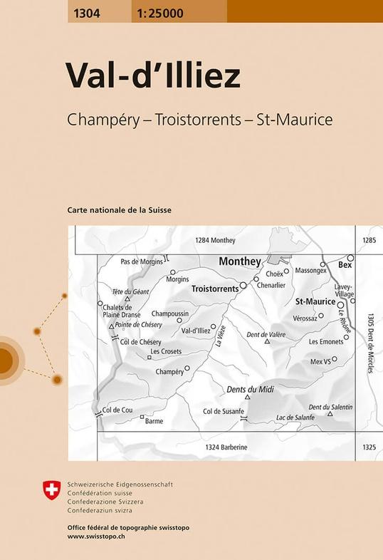 CH-1304  Val-d'Illiez [2018] topografische wandelkaart 9783302013046  Bundesamt / Swisstopo LKS 1:25.000  Wandelkaarten Wallis