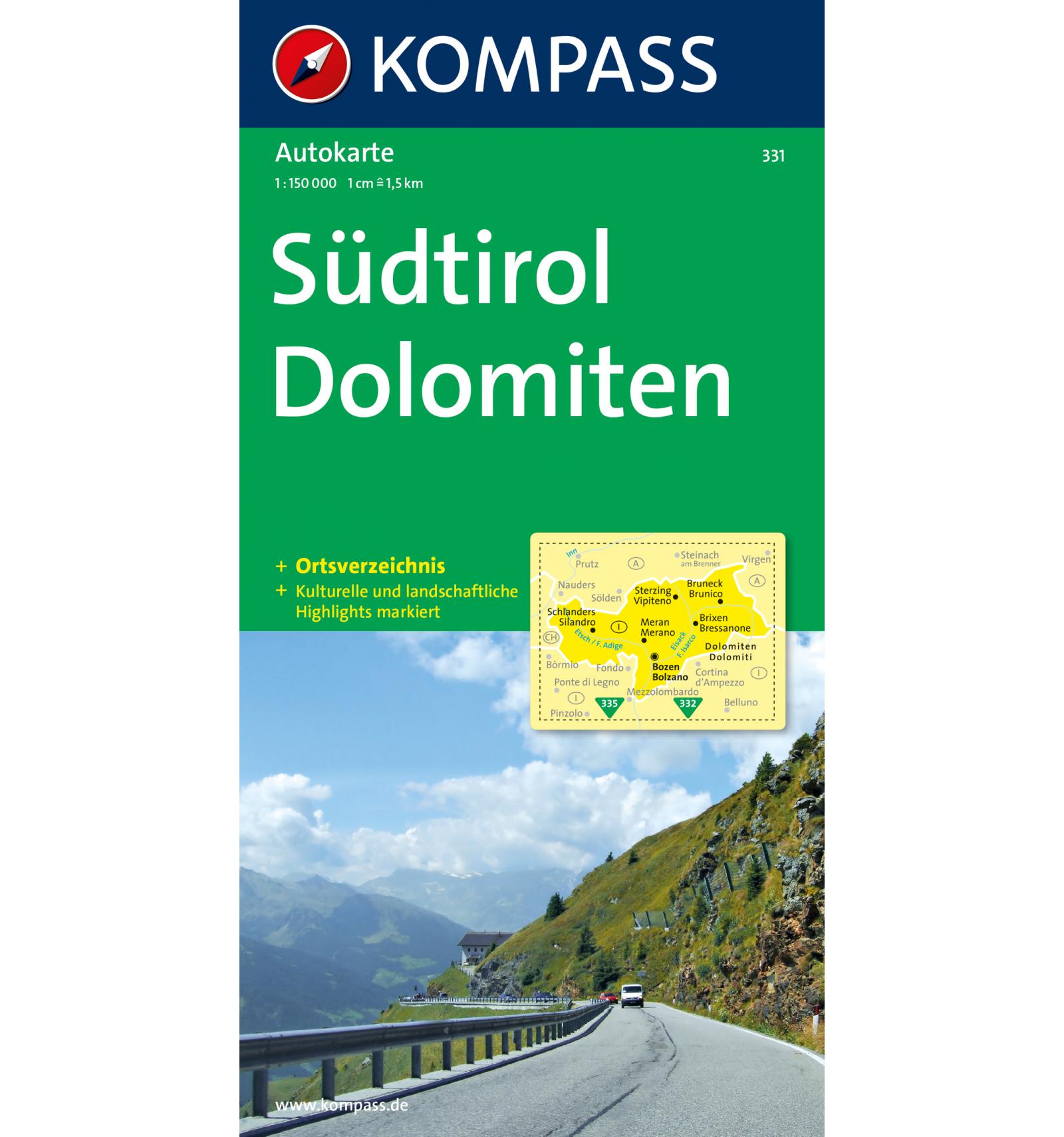 KP-331 Südtirol, Dolomiten Autokarte 1:150.000 9783854911838  Kompass   Landkaarten en wegenkaarten Zuid-Tirol, Dolomieten