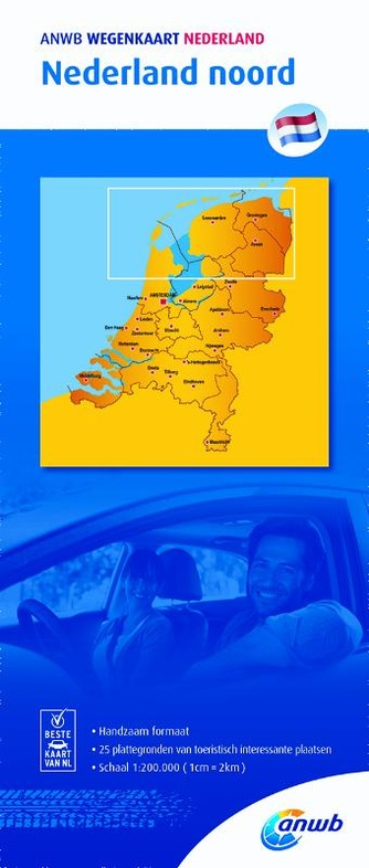 Nederland Noord | wegenkaart 1:200.000 9789018042004  ANWB ANWB wegenkaarten 1:200.000  Landkaarten en wegenkaarten Noord Nederland