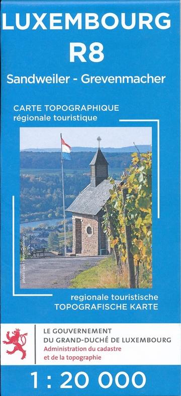 Lux. R08  Grevenmacher 1:20.000 R8 wandelkaart LUXR08  Le Gouvernement du Grand-Duché Wandelkaarten Luxemburg  Wandelkaarten Luxemburg