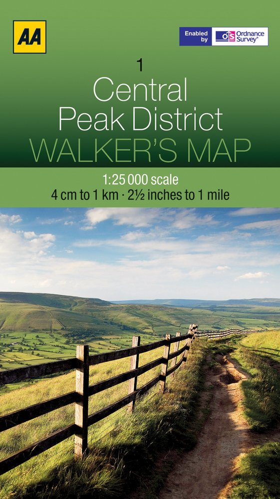 AOS-01  AA Walker's Map Central Peak District 1:25.000 9780749573140  AA AA / Ordnance Survey  Wandelkaarten Northumberland, Yorkshire Dales & Moors, Peak District, Isle of Man